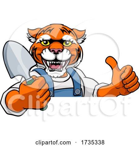 Tiger Gardener Gardening Animal Mascot by AtStockIllustration