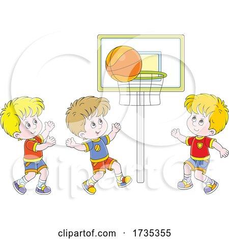 Boys Playing Basketball by Alex Bannykh