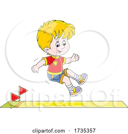 Track and FIeld Boy Jumping by Alex Bannykh