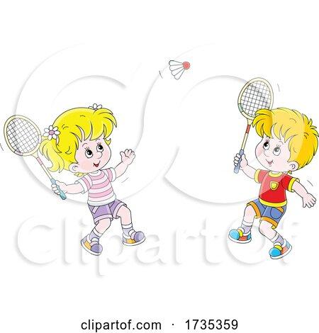 Children Playing Badminton by Alex Bannykh