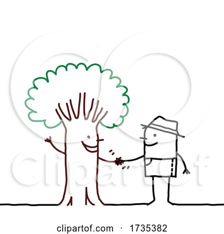 Stick Man Shaking Hands with a Tree by NL shop