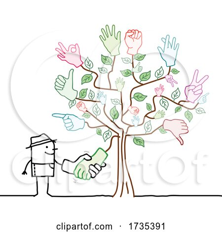 Stick Man Farmer Shaking Hands with a Tree by NL shop