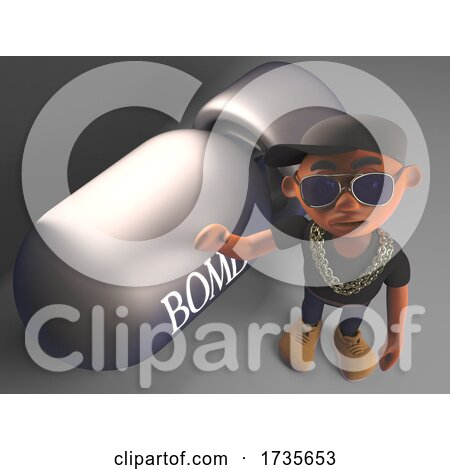 3d Black Hip Hop Rapper in Baseball Cap Stands Next to a Nuclear Bomb by Steve Young