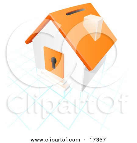Orange And White House With A Coin Slot On The Roof And A Keyhole in the Door Over a Blue and White Grid Posters, Art Prints