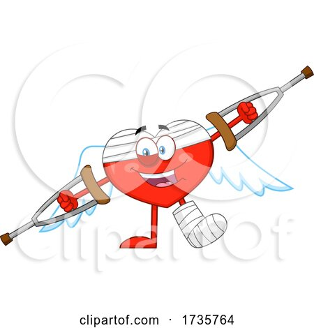 Heart Cupid Character with Crutches by Hit Toon