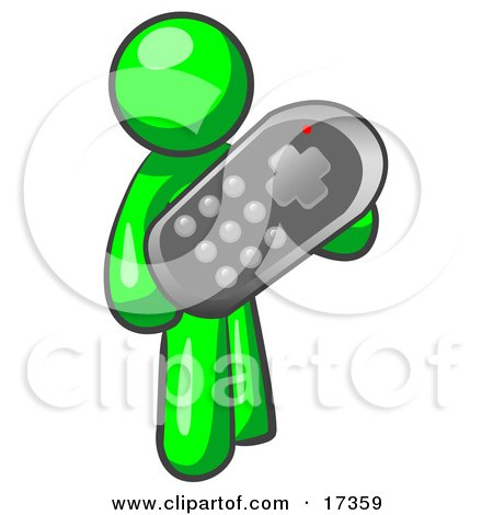 Green Man Holding A Remote Control To A Television Clipart Illustration by Leo Blanchette