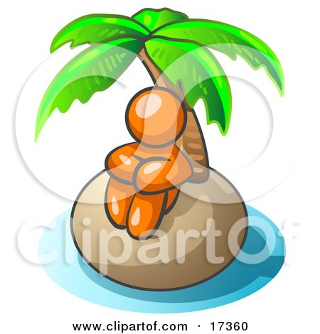 Orange Man Sitting All Alone With A Palm Tree On A Deserted Island Posters, Art Prints