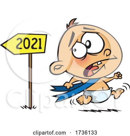 Cartoon New Year Baby Running from 2021 in Fear by toonaday