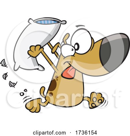 Cartoon Dog Engaging in a Pillow Fight by toonaday