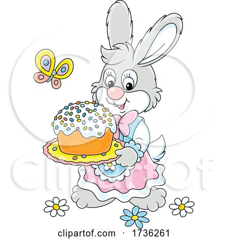 Bunny Rabbit Carrying an Easter Cake by Alex Bannykh