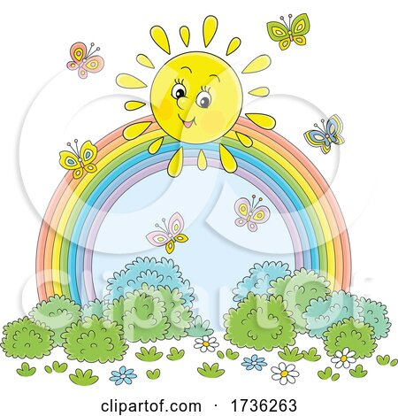 Cheerful Sun with Butterflies over a Rainbow by Alex Bannykh