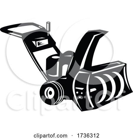 Snow Blower or Snow Thrower Cartoon Retro Woodcut Black and White by patrimonio