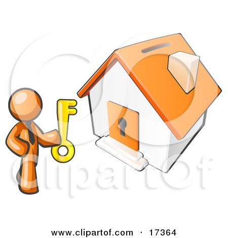 Orange Businessman Holding A Skeleton Key And Standing In Front Of A House With A Coin Slot And Keyhole Posters, Art Prints
