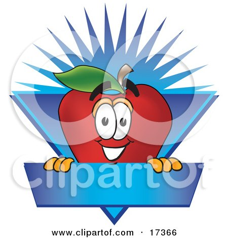 Clipart Illustration of a Red Apple Character Mascot Label With a Burst by Toons4Biz