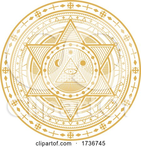 Golden Yellow Magic Alchemy Occult Religion Astrology Mystic Symbol by Vector Tradition SM