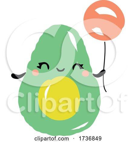 Cute Avocado Fruit with Balloon by elena