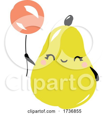 Cute Pear Fruit with Balloons by elena