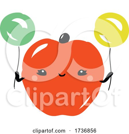 Cute Apple Fruit with Balloons by elena