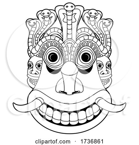 Raksha Mask in Black and White by Lal Perera