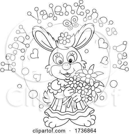 Black and White Sweet Rabbit Holding Flowers Under Happy Valentines Day Text by Alex Bannykh