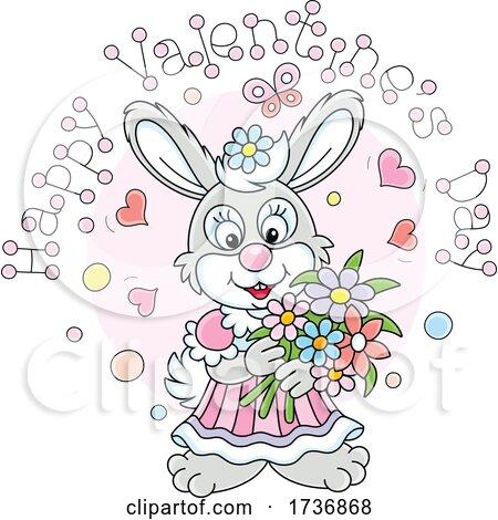 Sweet Rabbit Holding Flowers Under Happy Valentines Day Text by Alex Bannykh