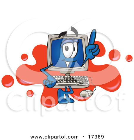 Clipart Picture of a Desktop Computer Mascot Cartoon Character Standing in Front of a Red Paint Splatter on a Logo by Toons4Biz