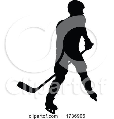 Ice Hockey Player Sports Silhouette by AtStockIllustration