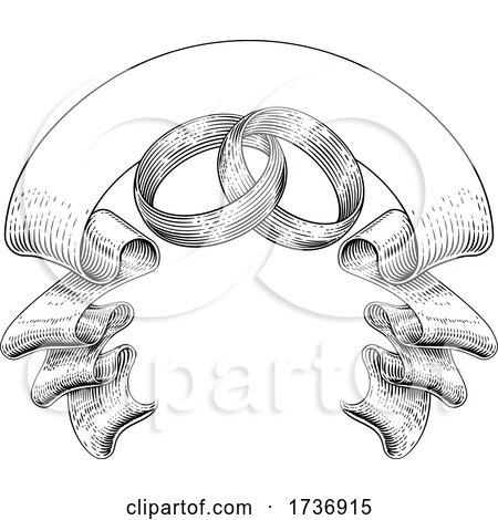 Wedding Rings Intertwined Vintage Woodcut Design by AtStockIllustration