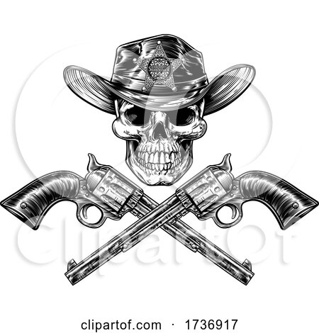 Skull Cowboy Sheriff with Crossed Pistols by AtStockIllustration