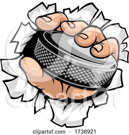Hand Holding Ice Hockey Puck Cartoon by AtStockIllustration