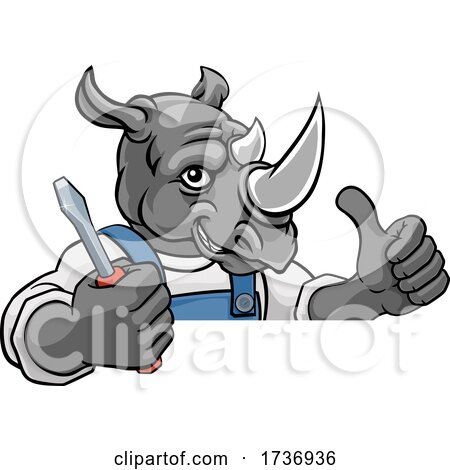 Rhino Electrician Handyman Holding Screwdriver by AtStockIllustration