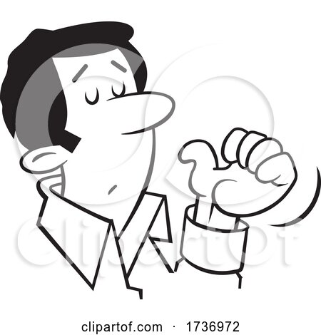 Cartoon Black and White Businessman Gesturing to Himself by Johnny Sajem