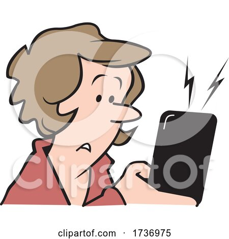 Cartoon Concerned Woman Receiving a Text Message by Johnny Sajem