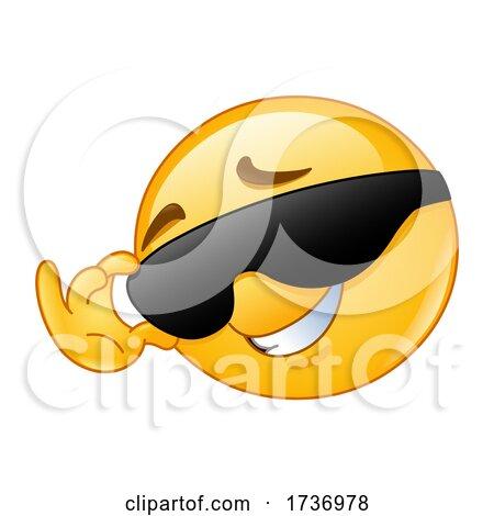 Yellow Smiley Emoji Emoticon Flirting and Touching His Sunglasses by yayayoyo