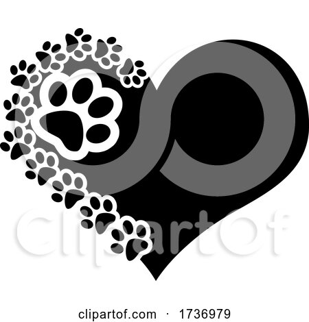 Black Heart with Dog Paw Prints by Hit Toon