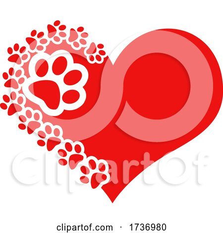 Red Heart with Dog Paw Prints by Hit Toon