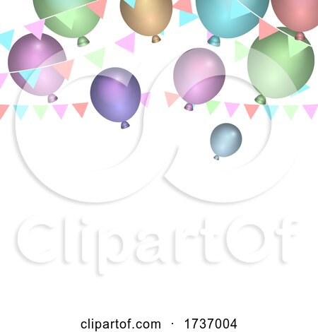 Birthday Party Balloons and Banner by KJ Pargeter
