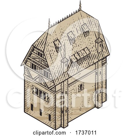 Medieval Building Map Icon Vintage Illustration by AtStockIllustration