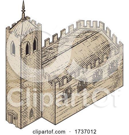 Medieval Building Map Icon Vintage Illustration by AtStockIllustration