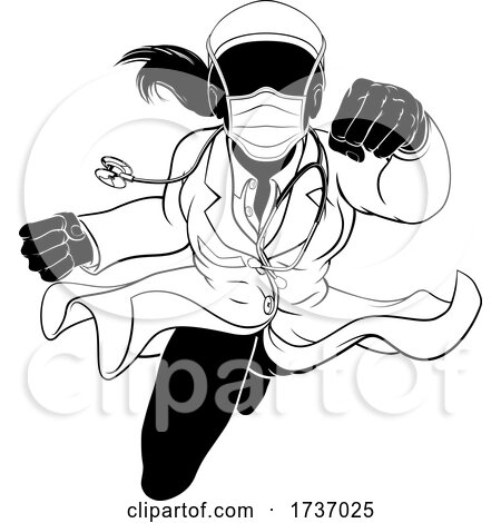 Doctor Woman Flying Super Hero PPE Mask Silhouette by AtStockIllustration