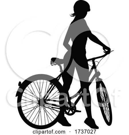Bike and Bicyclist Silhouette by AtStockIllustration