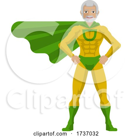Super Hero Mature Man Cartoon by AtStockIllustration