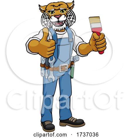 Wildcat Painter Decorator Holding Paintbrush by AtStockIllustration