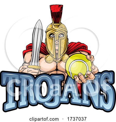 Trojan Spartan Tennis Sports Mascot by AtStockIllustration
