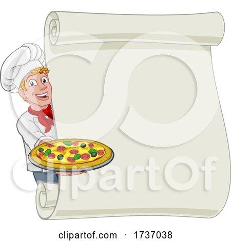Pizza Chef Cartoon Man Scroll Menu Sign Background by AtStockIllustration