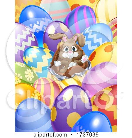 Easter Bunny Eggs Background Cartoon by AtStockIllustration
