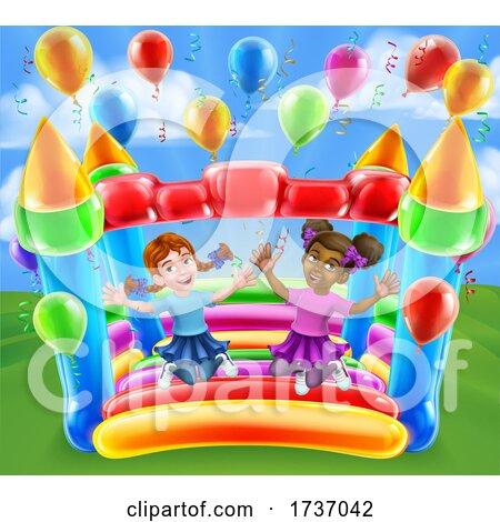 Bouncy House Castle Jumping Girls Kids Cartoon by AtStockIllustration
