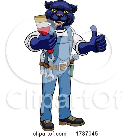 Panther Painter Decorator Holding Paintbrush by AtStockIllustration