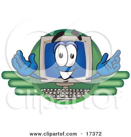 Clipart Picture of a Desktop Computer Mascot Cartoon Character Logo by Toons4Biz