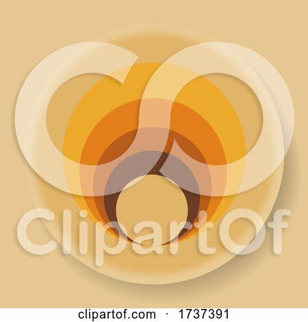 Abstract 70s Design Circular Logo on Beige by elaineitalia